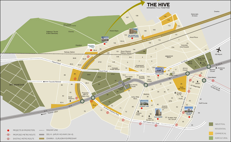 How to reach, Satya The Hive Sector 102 Dwarka Expressway Gurgaon